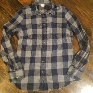 J.Crew blue & gray plaid button down shirt, small